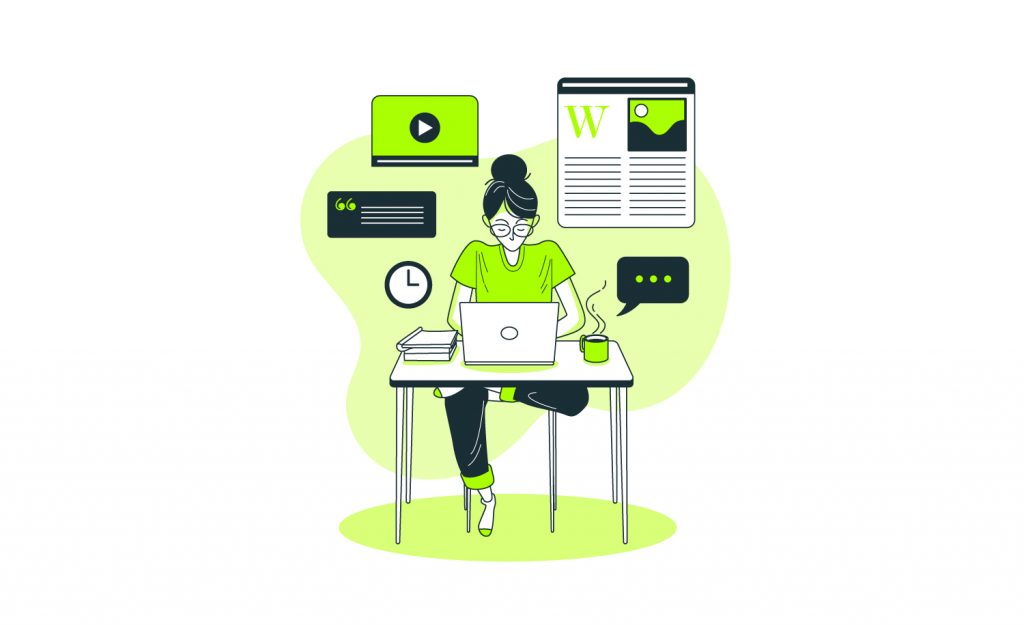 This image is taken from Freepik (totally their courtesy). It shows a girl who is writing on her laptop.