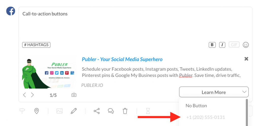 This screenshot explains how one can add a phone number when they choose Call Now as a CTA button on Publer.