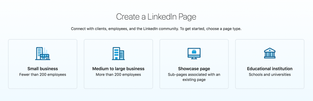 This screenshot explains how to choose correctly when it comes to a LinkedIn Page.