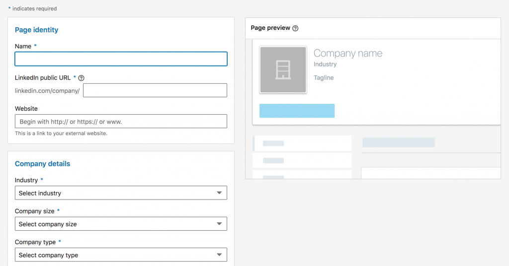 This screenshot explains which are the required fields to fill during a LinkedIN Page creation.