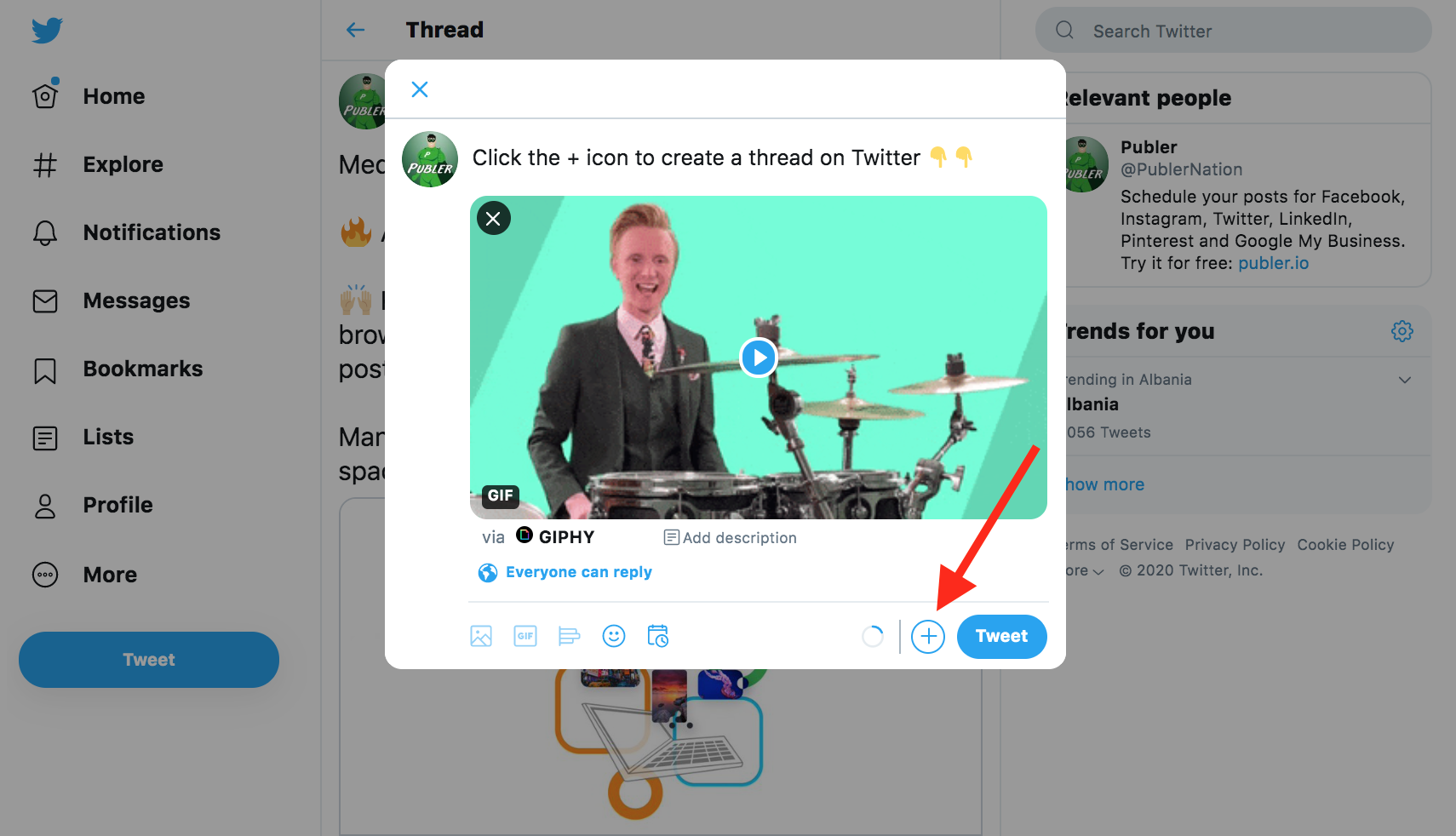 Click the + icon to create a new thread on Twitter. Limit: 3 tweets.